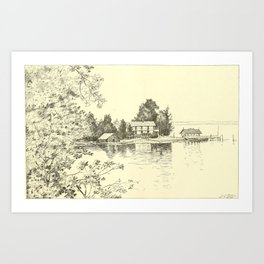 The American Angler Magazine (1896) - Seneca and Vine Cottage Point, Lake Canandaigua Art Print