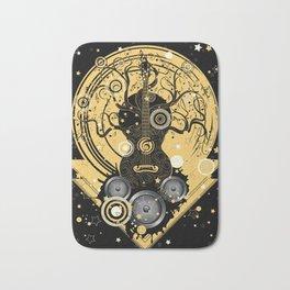 Retro geometric music themed design with guitar tree Bath Mat