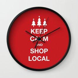 KEEP CALM SHOP LOCAL Wall Clock