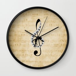 Clef Music Notes Wall Clock