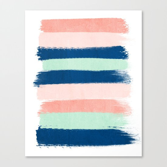 Stripes painterly pastel trendy color way modern home decor dorm nursery style Canvas Print