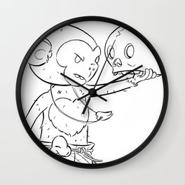 Monkey Pirate - ink Wall Clock