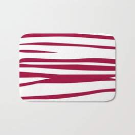 wild lines, ethnic  Red on white elements Bath Mat