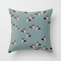 teal corgis Throw Pillow
