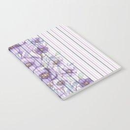Watercolor purple lavender lilac floral stripes Notebook