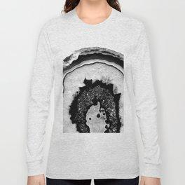 Gray Black White Agate with Black Silver Glitter #2 #gem #decor #art #society6 Long Sleeve T-shirt