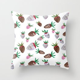 Yummy Chocolate Covered Strawberries Throw Pillow