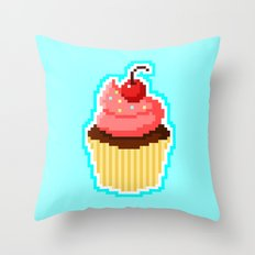 Pixel Cupcake Throw Pillow