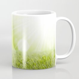 Decorated Easter eggs in the grass with a green background Coffee Mug