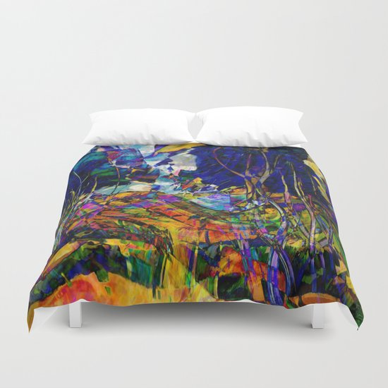 beautiful road in the night autumn forest Duvet Cover