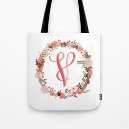 Personal monogram letter 'V' flower wreath Tote Bag
