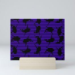 Stripes and Purple Sharks Pattern Mini Art Print