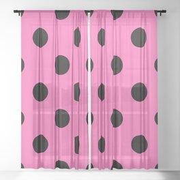 XXL Black and Light Hot Pink Dot Pattern Sheer Curtain