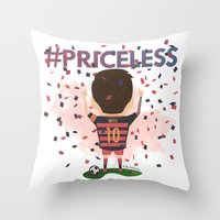 messi Throw Pillows featuring Messi Priceless by Doctor Keros