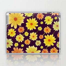 Yellow dots, Yellow Flower, Floral Pattern, Yellow Blossom Laptop & iPad Skin