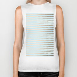 Abstract Stripes Gold Tropical Ocean Sea Turquoise Biker Tank