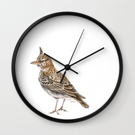 Galerida cristata, Crested lark traditional artwork Wall Clock
