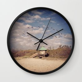 Pelican Halo at the Beach Wall Clock