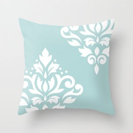 Scoll Damask Art I White on Duck Egg Blue Throw Pillow