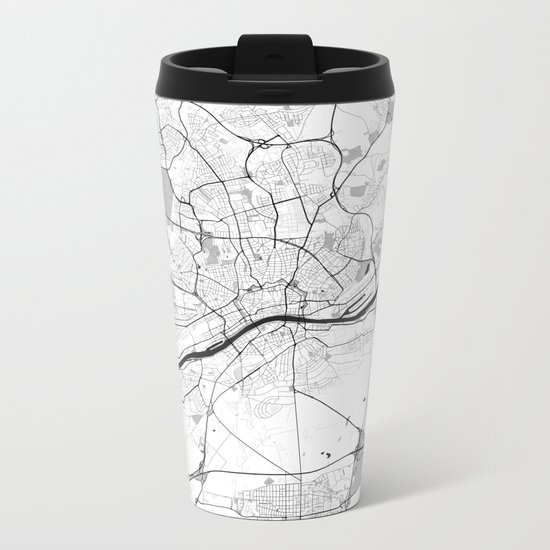 Frankfurt City Map Gray Metal Travel Mug