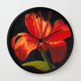 Orange lily flower Wall Clock