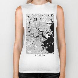Boston Black and White Map Biker Tank