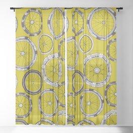 bike wheels chartreuse Sheer Curtain