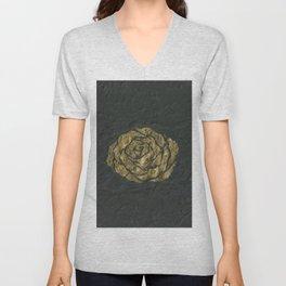Golden Rose on Textured Canvas Unisex V-Neck