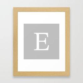 Silver Gray Basic Monogram E Framed Art Print