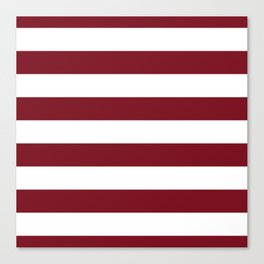 Deep Red Pear and White Wide Horizontal Cabana Tent Stripe Canvas Print