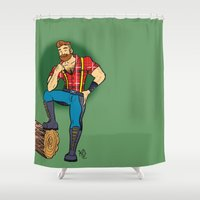 jack nicholson Shower Curtains featuring Jack! by Katie Diamond