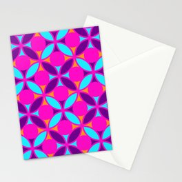 Geometric Floral Circles Vibrant Color Challenge In Bold Purple Pink Orange & Blue Stationery Cards