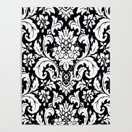 Damask Paisley Black and White Paisley Pattern Vintage Poster