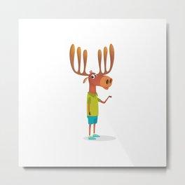 Cartoon Funny Moose Illustration Metal Print