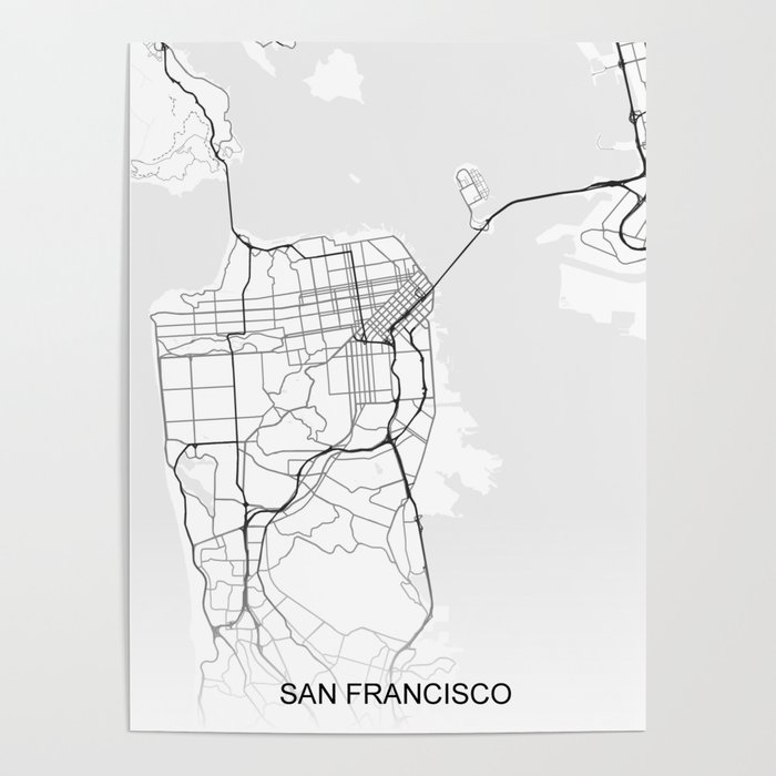 San Francisco street map Poster by ihabdesign on maryland map poster, florida map poster, united states map poster, california poster, chicago map poster, ohio map poster, toronto map poster, paris map poster, germany map poster, los angeles poster, brooklyn map poster, venice map poster, indianapolis map poster, mississippi map poster, hong kong map poster, austin map poster, new england map poster, seattle map poster, columbus map poster, north carolina map poster,