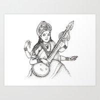 hindu Art Prints featuring Hindu Deity_Saraswati  by The Artful Yogini