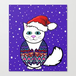 Christmas cat in sweater vest Canvas Print