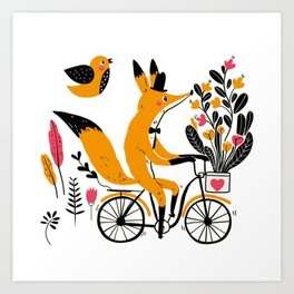 Fancy Mister Foxly Meets A Feathered Friend Art Print