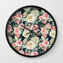 Country chic navy blue pink ivory watercolor floral Wall Clock