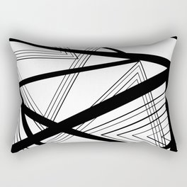Black and White Abstract Geometric Rectangular Pillow