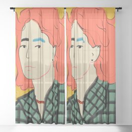WOOL COAT GIRL Sheer Curtain