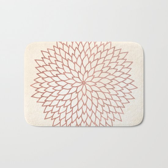 Mandala Flower Rose Gold on Cream Bath Mat