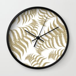 Fern Leaves Pattern - Golden Dream #2 #ornamental #decor #art #society6 Wall Clock