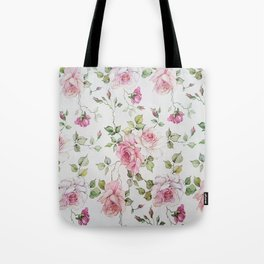 Shabby vintage blush pink white floral Tote Bag