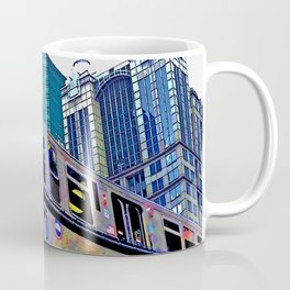 Chicago 'L' in multi color: Chicago photography - Chicago Elevated train Coffee Mug