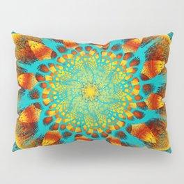 Mandala Flower Green Yellow Art Pillow Sham