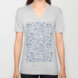 Blue mushrooms and blueberries pattern on white Unisex V-Neck