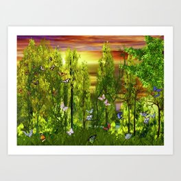 Sunset In Butterfly Glen Art Print