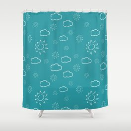 White clouds and sun pattern Shower Curtain