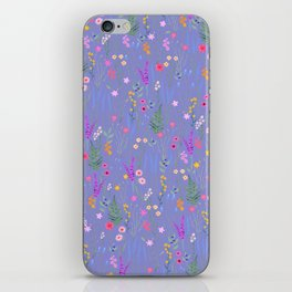 blue meadows colorful floral pattern iPhone Skin